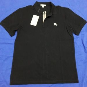 Burberry Brit Men Casual Solid Black Polo